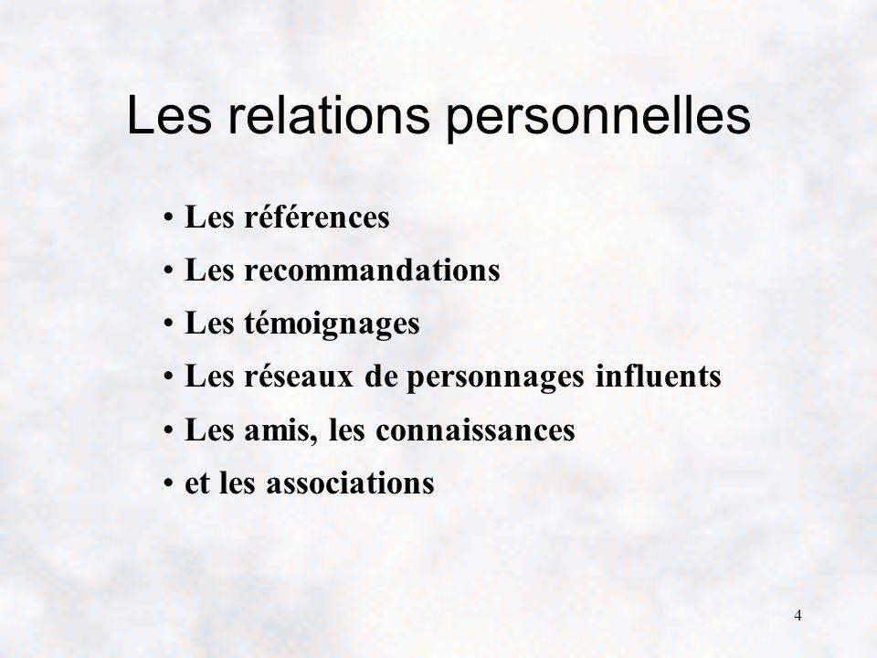 4 Les relations personnelles Les références Les recommandations Les témoignages Les réseaux de personnages influents Les amis, les connaissances et les associations