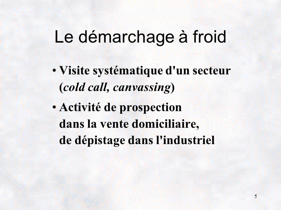 5 Le démarchage à froid Visite systématique d un secteur (cold call, canvassing) Activité de prospection dans la vente domiciliaire, de dépistage dans l industriel