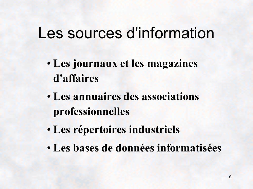 6 Les sources d information Les journaux et les magazines d affaires Les annuaires des associations professionnelles Les répertoires industriels Les bases de données informatisées