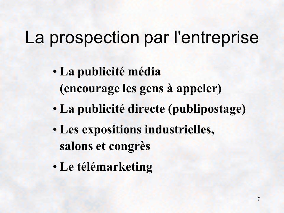 7 La prospection par l entreprise La publicité média (encourage les gens à appeler) La publicité directe (publipostage) Les expositions industrielles, salons et congrès Le télémarketing
