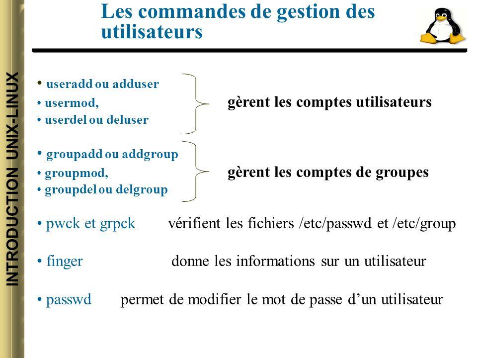 INTRODUCTION UNIX-LINUX Les commandes de gestion des utilisateurs useradd ou adduser usermod, gèrent les comptes utilisateurs userdel ou deluser groupadd ou addgroup groupmod, gèrent les comptes de groupes groupdel ou delgroup pwck et grpck vérifient les fichiers /etc/passwd et /etc/group finger donne les informations sur un utilisateur passwd permet de modifier le mot de passe dun utilisateur