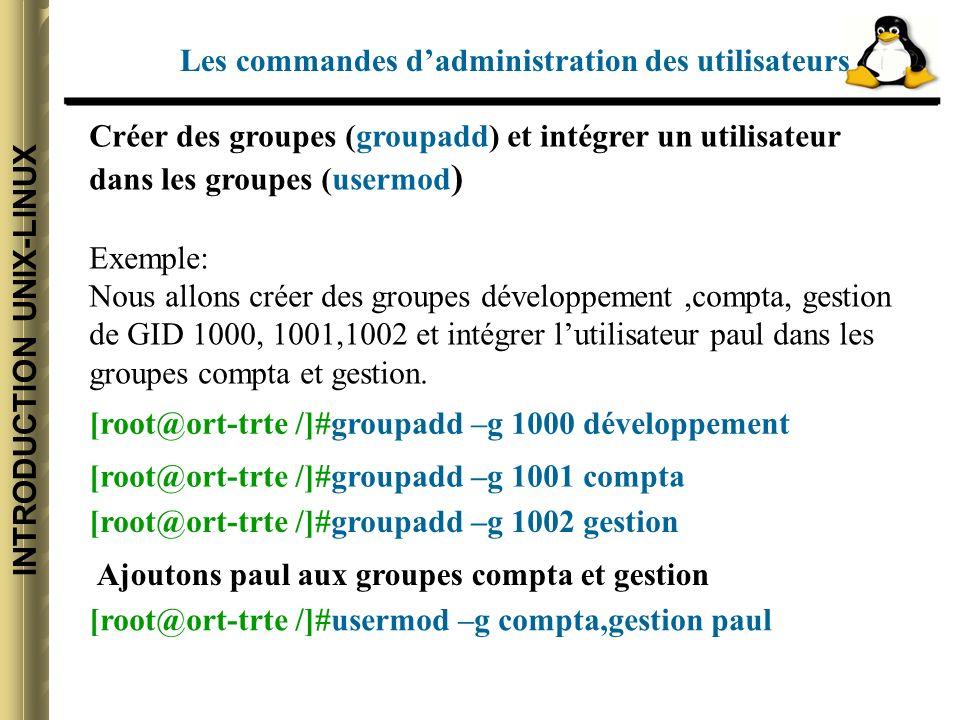 INTRODUCTION UNIX-LINUX Créer des groupes (groupadd) et intégrer un utilisateur dans les groupes (usermod ) Exemple: Nous allons créer des groupes développement,compta, gestion de GID 1000, 1001,1002 et intégrer lutilisateur paul dans les groupes compta et gestion.