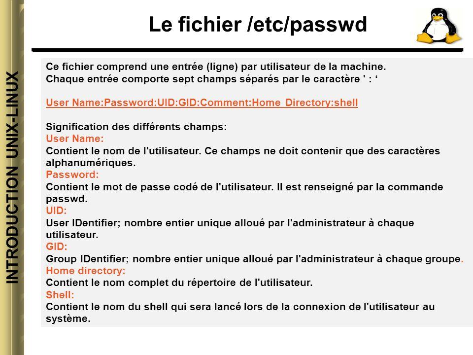 INTRODUCTION UNIX-LINUX Le fichier /etc/passwd Contenu du fichier /etc/passwd root:x:0:0:root:/root:/bin/bash bin:x:1:1:bin:/bin: daemon:x:2:2:daemon:/sbin: adm:x:3:4:adm:/var/adm: lp:x:4:7:lp:/var/spool/lpd: sync:x:5:0:sync:/sbin:/bin/sync shutdown:x:6:0:shutdown:/sbin:/sbin/shutdown halt:x:7:0:halt:/sbin:/sbin/halt mail:x:8:12:mail:/var/spool/mail: news:x:9:13:news:/var/spool/news: uucp:x:10:14:uucp:/var/spool/uucp: operator:x:11:0:operator:/root: games:x:12:100:games:/usr/games: gopher:x:13:30:gopher:/usr/lib/gopher-data: ftp:x:14:50:FTP User:/home/ftp: nobody:x:99:99:Nobody:/: guest:x:500:500:invite:/usr/guest:/bin/bash gigi:x:501:0::/usr/gigi:/bin/bash titi:x:502:100::/usr/titi:/bin/ksh