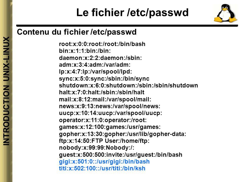 INTRODUCTION UNIX-LINUX Les commandes dadministration des utilisateurs Ajouter un utilisateur et changer le mot de passe Utilisez la commande adduser pour ajouter un utilisateur : Je veux par exemple créer un compte utilisateur « paul »: [root@ort-trte /]# adduser paul Le compte est créé, c estàdire qu un répertoire paul a été créé dans le répertoire /home et l utilisateur paul a été ajouté dans le fichier de configuration /etc/passwd.