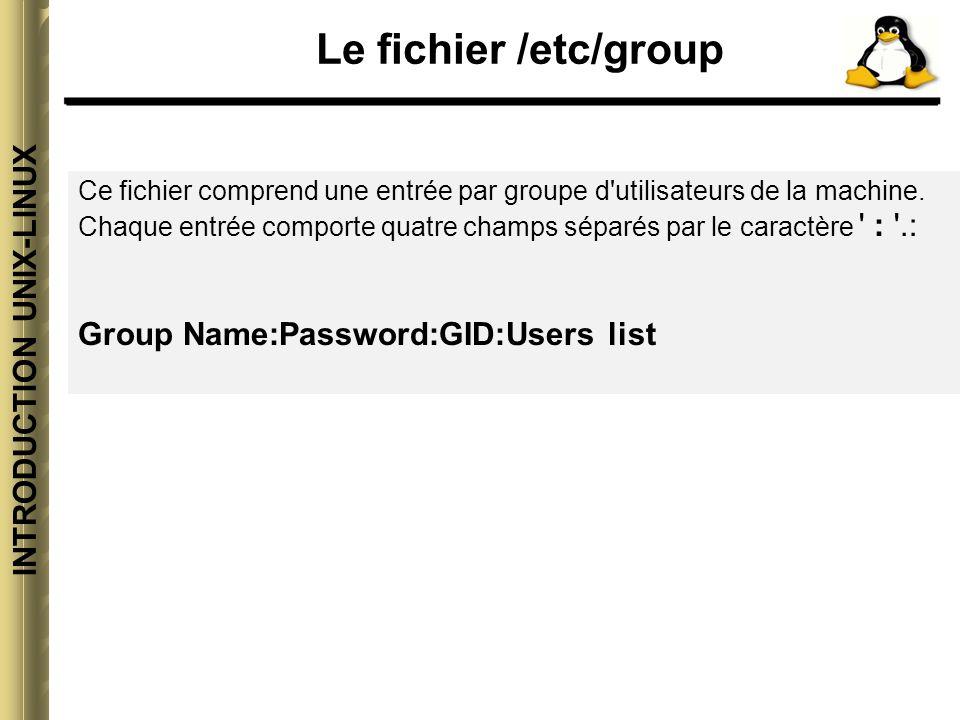 INTRODUCTION UNIX-LINUX Le fichier /etc/group Signification des différents champs: Group Name: Contient le nom du groupe.