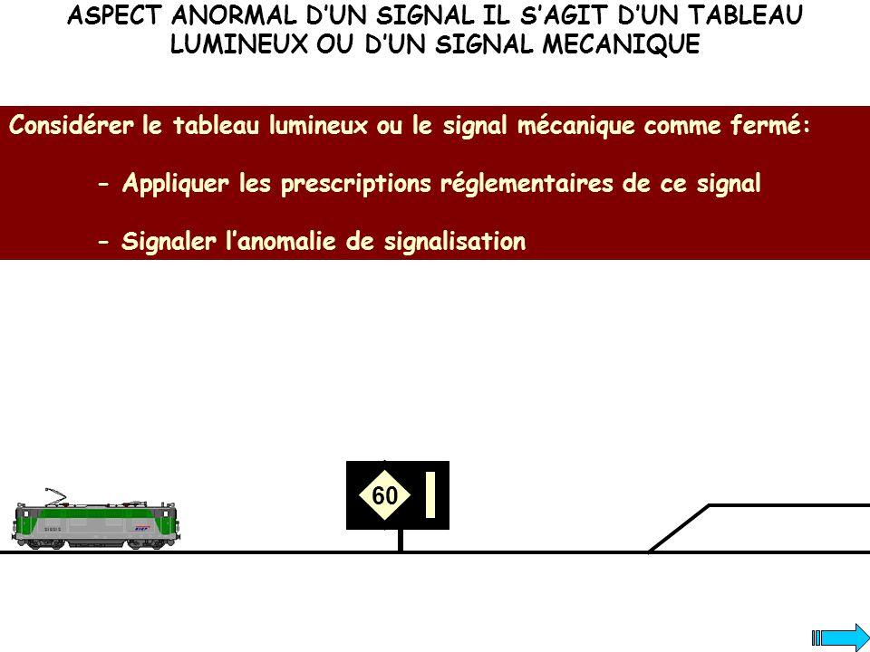 ASPECT ANORMAL DUN SIGNAL IL SAGIT DUN TABLEAU LUMINEUX OU DUN SIGNAL MECANIQUE Considérer le tableau lumineux ou le signal mécanique comme fermé: - A