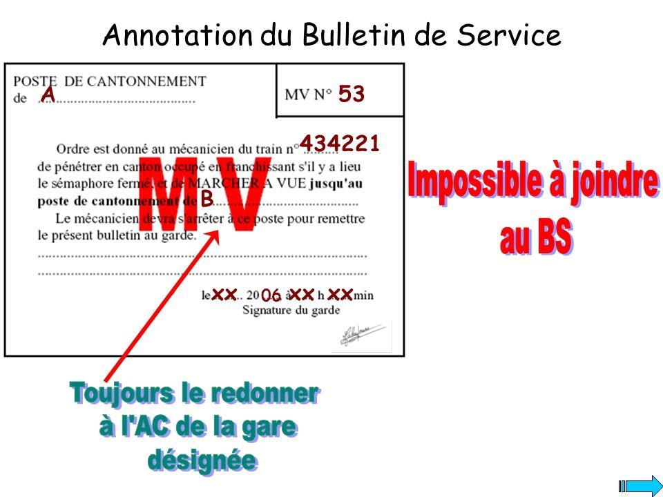 Annotation du Bulletin de Service A 434221 B xx 06 xx 53