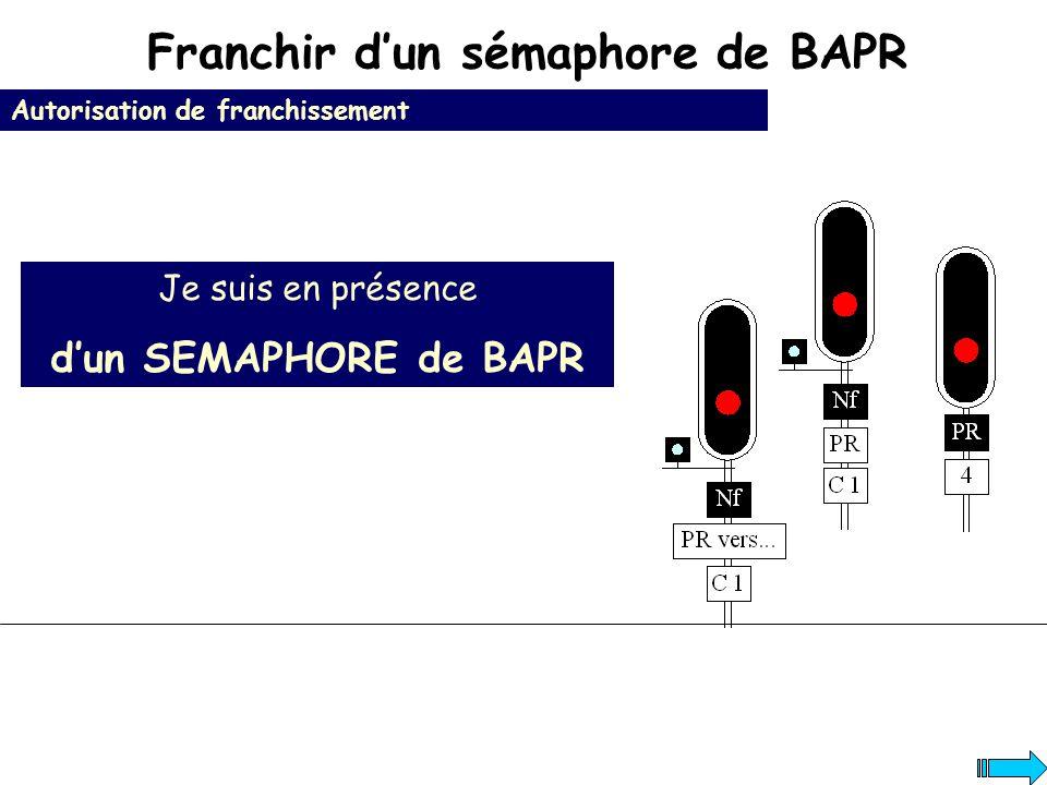 Franchir dun sémaphore de BAPR Autorisation de franchissement Je suis en présence dun SEMAPHORE de BAPR