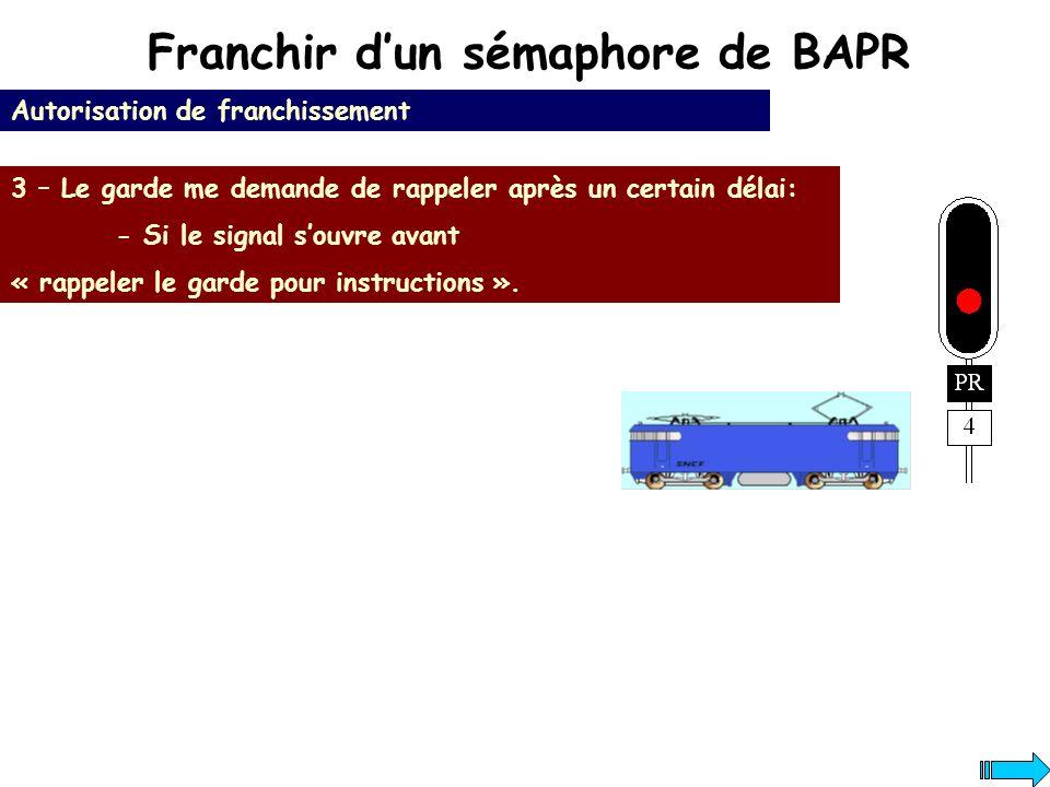 Franchir dun sémaphore de BAPR Autorisation de franchissement 3 – Le garde me demande de rappeler après un certain délai: - Si le signal souvre avant