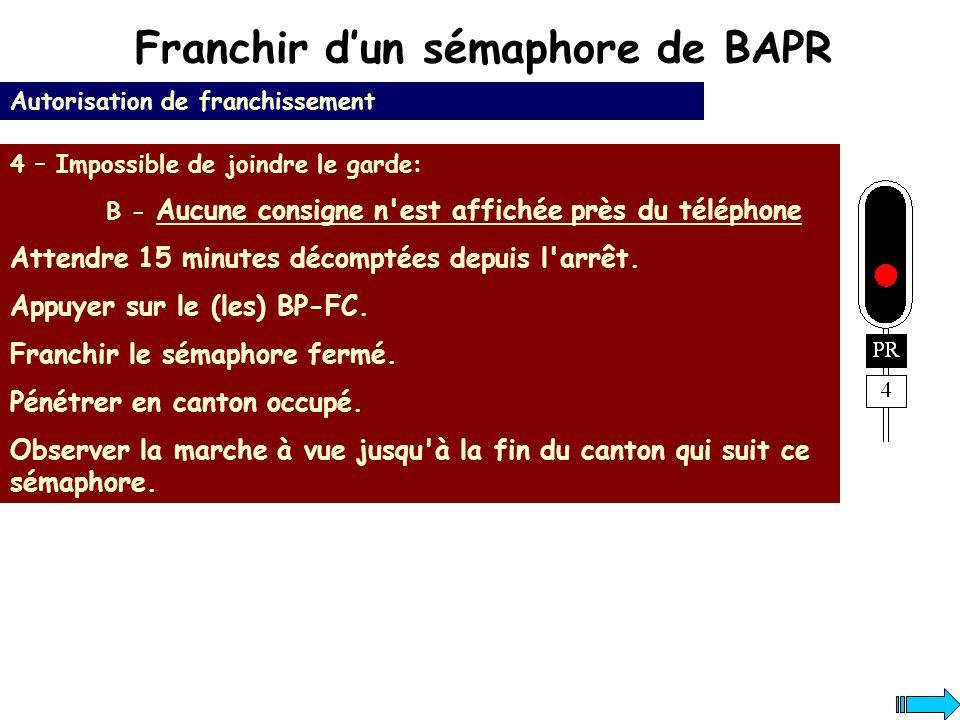 Franchir dun sémaphore de BAPR Autorisation de franchissement 4 – Impossible de joindre le garde: B - Aucune consigne n'est affichée près du téléphone