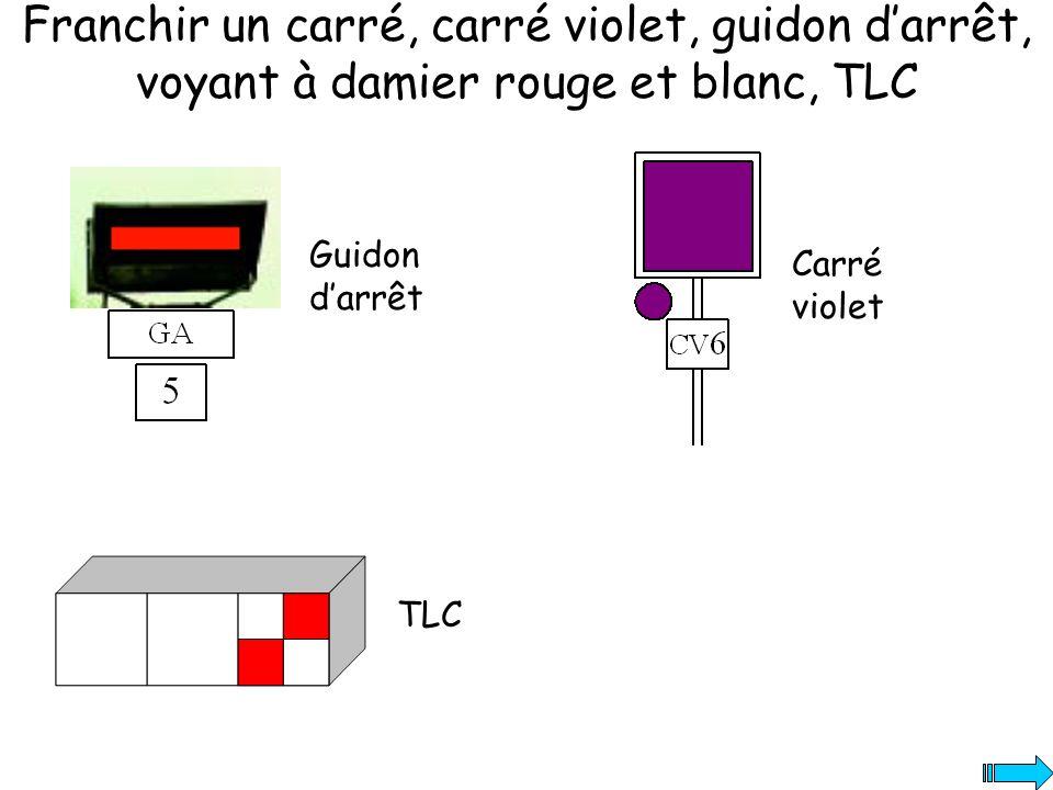 Franchir un carré, carré violet, guidon darrêt, voyant à damier rouge et blanc, TLC Guidon darrêt TLC Carré violet