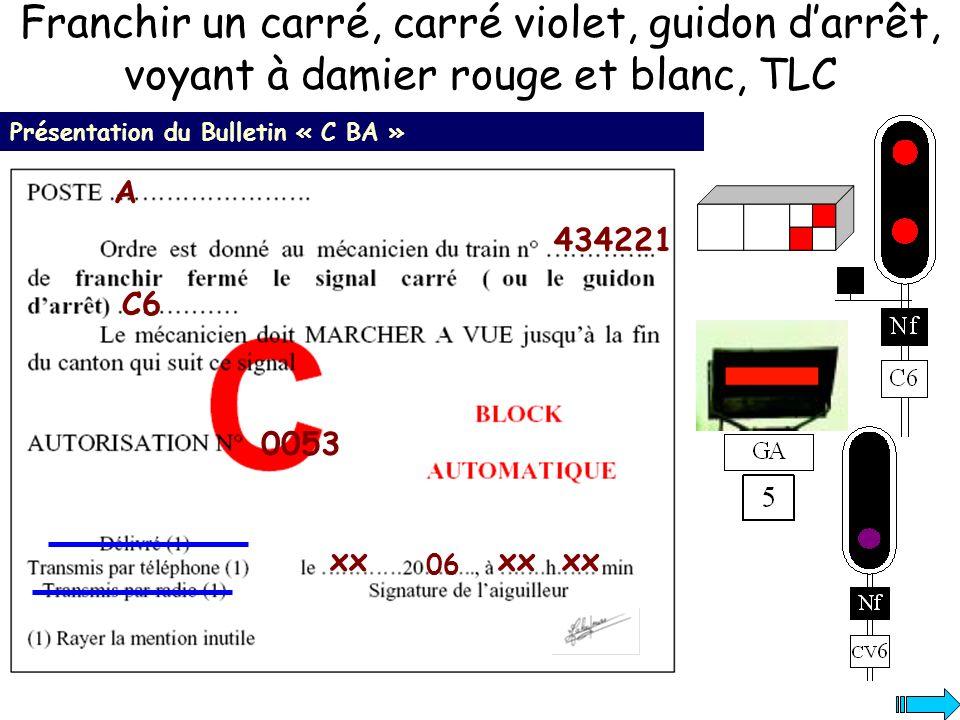 Franchir un carré, carré violet, guidon darrêt, voyant à damier rouge et blanc, TLC Présentation du Bulletin « C BA » 434221 A C6 xx 06 xx 0053