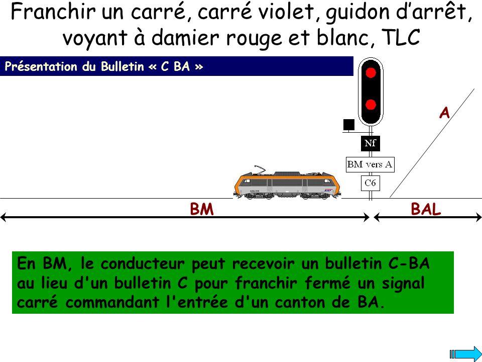Franchir un carré, carré violet, guidon darrêt, voyant à damier rouge et blanc, TLC Présentation du Bulletin « C BA » En BM, le conducteur peut recevo