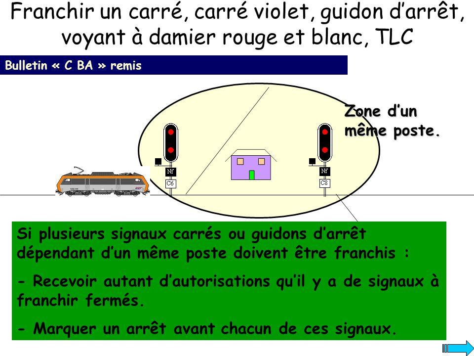 Bulletin « C BA » remis Si plusieurs signaux carrés ou guidons darrêt dépendant dun même poste doivent être franchis : - Recevoir autant dautorisation