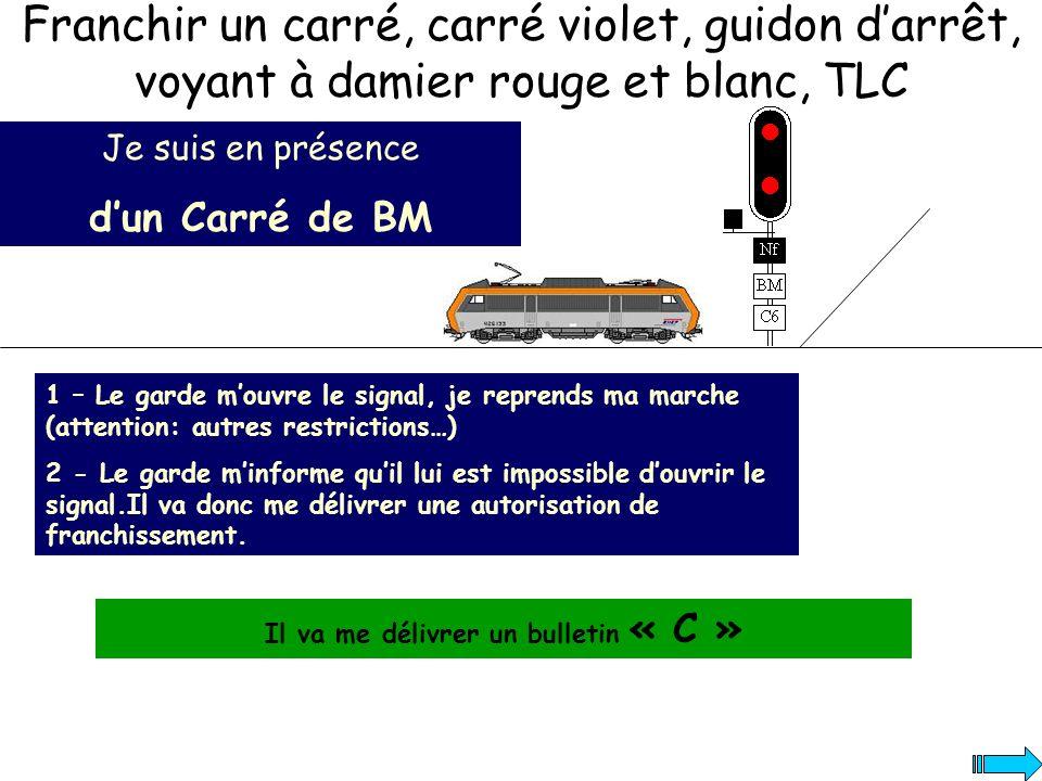 Je suis en présence dun Carré de BM 1 – Le garde mouvre le signal, je reprends ma marche (attention: autres restrictions…) 2 - Le garde minforme quil