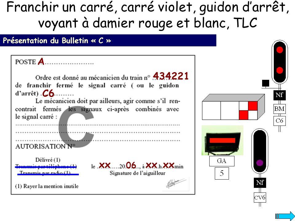 Franchir un carré, carré violet, guidon darrêt, voyant à damier rouge et blanc, TLC Présentation du Bulletin « C » 434221 A C6 xx 06 xx