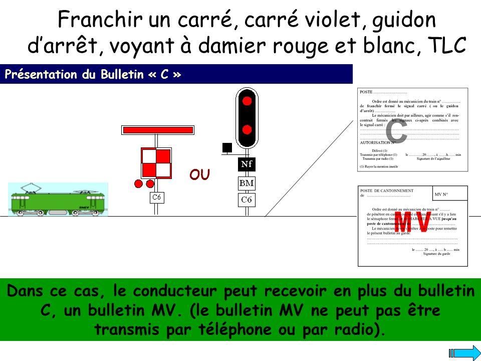 Franchir un carré, carré violet, guidon darrêt, voyant à damier rouge et blanc, TLC Présentation du Bulletin « C » Dans ce cas, le conducteur peut rec