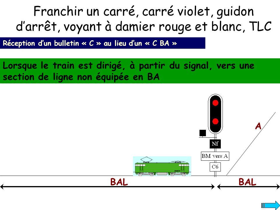 Franchir un carré, carré violet, guidon darrêt, voyant à damier rouge et blanc, TLC Réception dun bulletin « C » au lieu dun « C BA » Lorsque le train