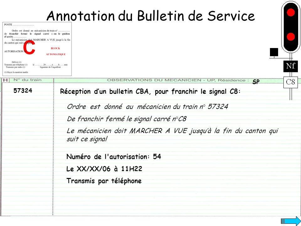 Annotation du Bulletin de Service 57324 SP Numéro de l'autorisation: 54 Le XX/XX/06 à 11H22 Transmis par téléphone Réception dun bulletin CBA, pour fr