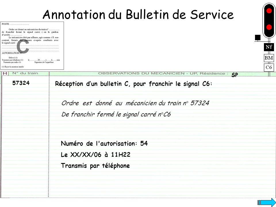 Annotation du Bulletin de Service 57324 SP Numéro de l'autorisation: 54 Le XX/XX/06 à 11H22 Transmis par téléphone Réception dun bulletin C, pour fran