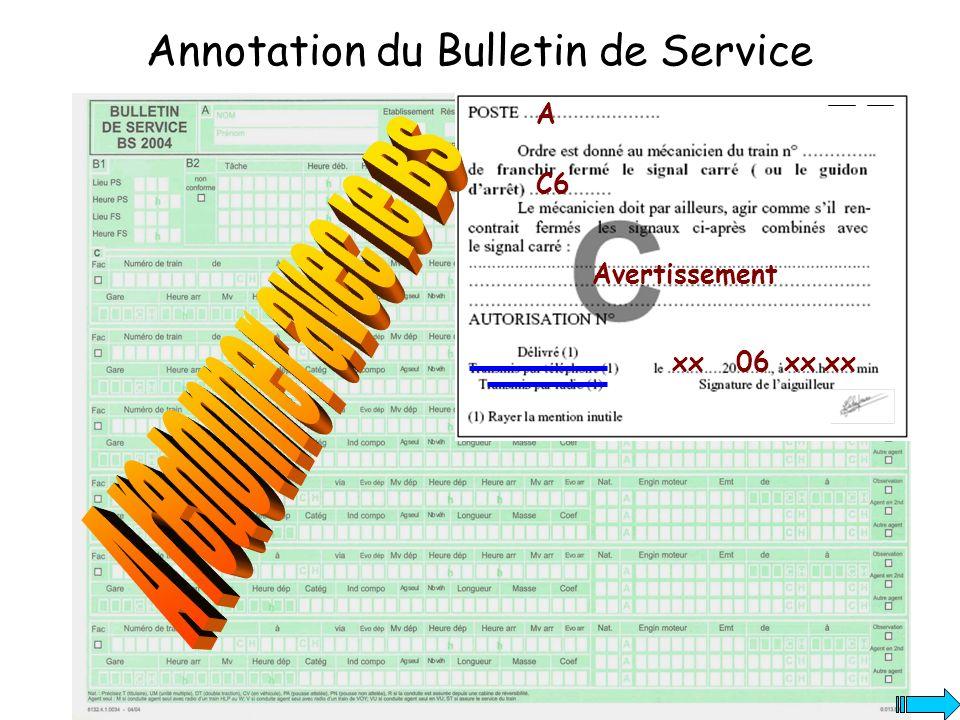 Annotation du Bulletin de Service A C6 xx06xx Avertissement