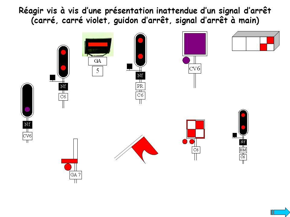 Réagir vis à vis dune présentation inattendue dun signal darrêt (carré, carré violet, guidon darrêt, signal darrêt à main)