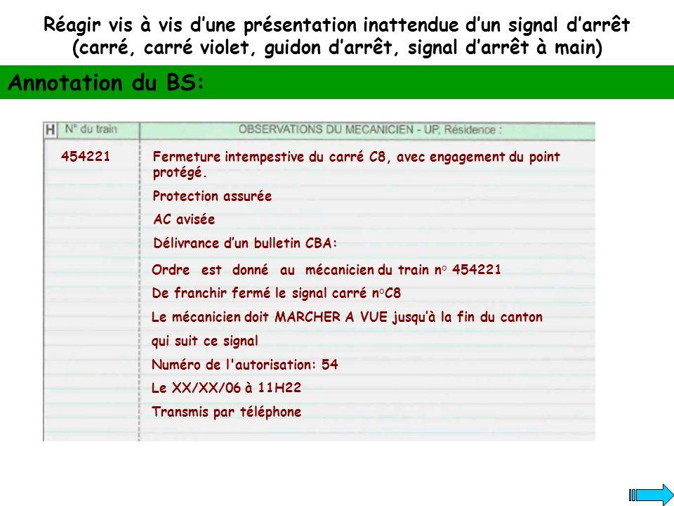 Réagir vis à vis dune présentation inattendue dun signal darrêt (carré, carré violet, guidon darrêt, signal darrêt à main) Annotation du BS: 454221Fer