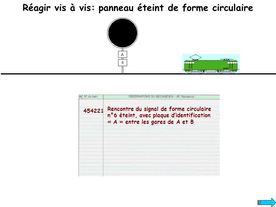 Réagir vis à vis: panneau éteint de forme circulaire 454221 Rencontre du signal de forme circulaire n°6 éteint, avec plaque didentification « A » entr