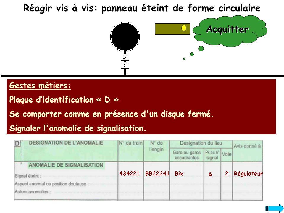 Réagir vis à vis: panneau éteint de forme circulaire Gestes métiers: Plaque didentification « D » Se comporter comme en présence d'un disque fermé. Si