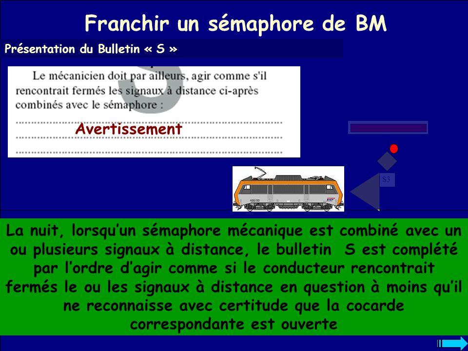 Franchir un sémaphore de BM Présentation du Bulletin « S » Dans ce cas ne pas oublier de marquer un arrêt au sémaphore.