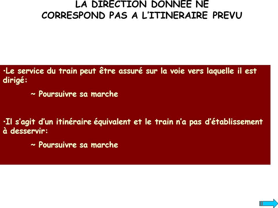 LA DIRECTION DONNEE NE CORRESPOND PAS A LITINERAIRE PREVU Le service du train peut être assuré sur la voie vers laquelle il est dirigé: ~ Poursuivre s