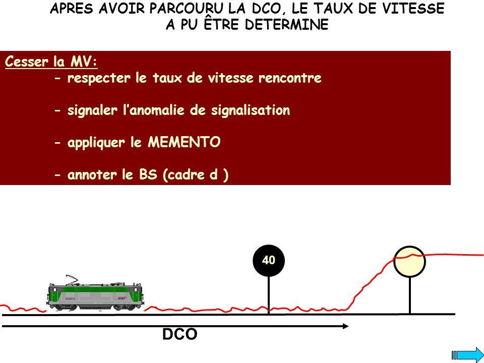 APRES AVOIR PARCOURU LA DCO, LE TAUX DE VITESSE A PU ÊTRE DETERMINE Cesser la MV: - respecter le taux de vitesse rencontre - signaler lanomalie de sig