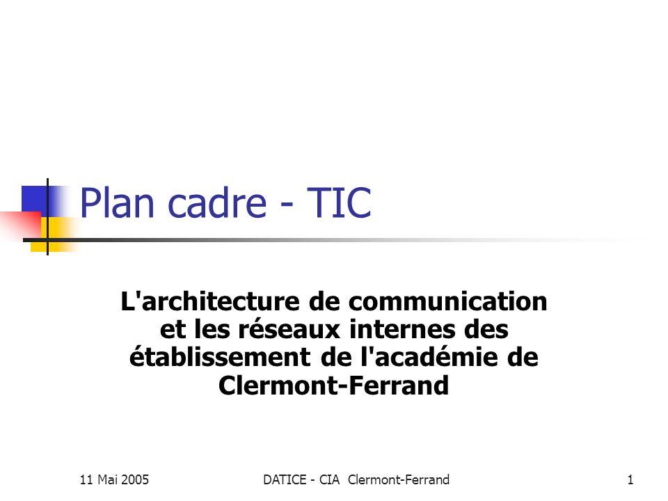 11 Mai 2005DATICE - CIA Clermont-Ferrand2 Plan Cadre - TIC Sommaire La communication……………………………...3 Les réseaux détablissement…...…………10 Organisation du réseau pédagogique….14 Le réseau de gestion…………………………19 Utilisation des cours…………………………..21 La sécurité………………………………………..23 Les ENT……………………………………………25