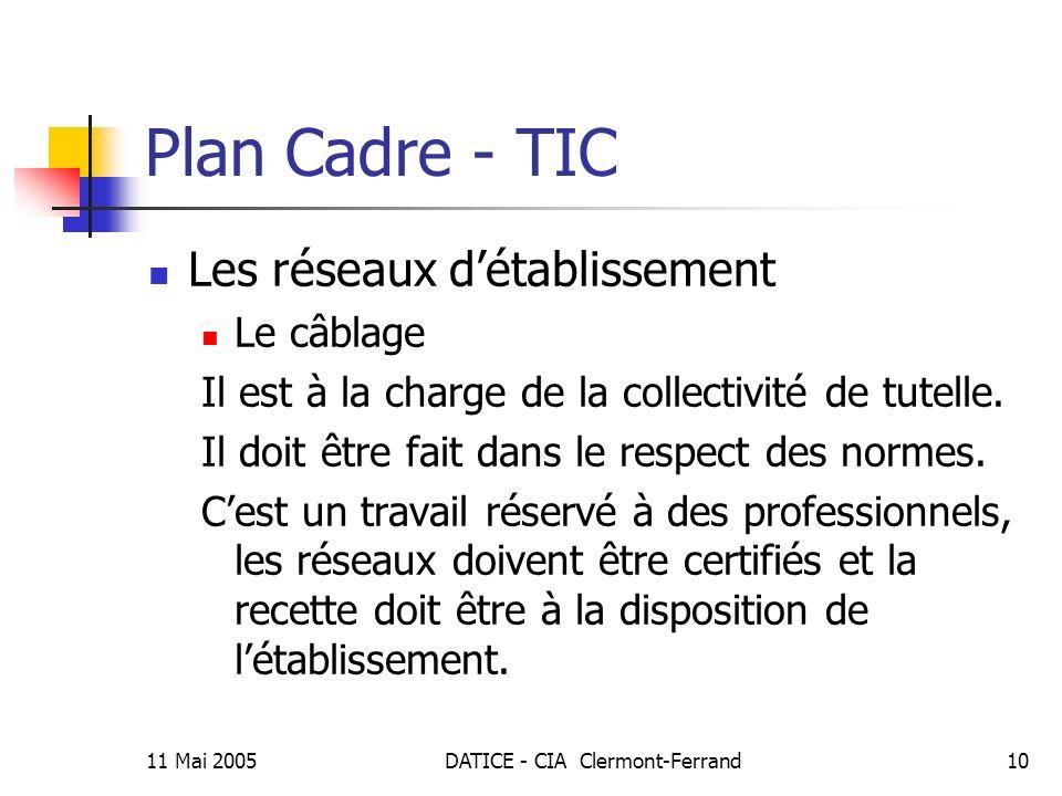 11 Mai 2005DATICE - CIA Clermont-Ferrand10 Plan Cadre - TIC Les réseaux détablissement Le câblage Il est à la charge de la collectivité de tutelle.