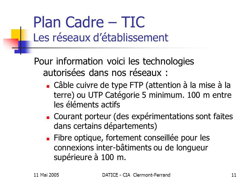 11 Mai 2005DATICE - CIA Clermont-Ferrand11 Plan Cadre – TIC Les réseaux détablissement Pour information voici les technologies autorisées dans nos réseaux : Câble cuivre de type FTP (attention à la mise à la terre) ou UTP Catégorie 5 minimum.