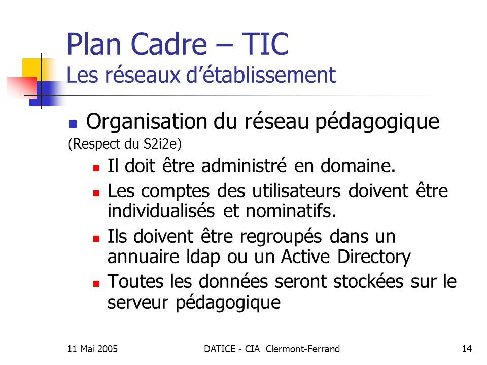 11 Mai 2005DATICE - CIA Clermont-Ferrand14 Plan Cadre – TIC Les réseaux détablissement Organisation du réseau pédagogique (Respect du S2i2e) Il doit être administré en domaine.