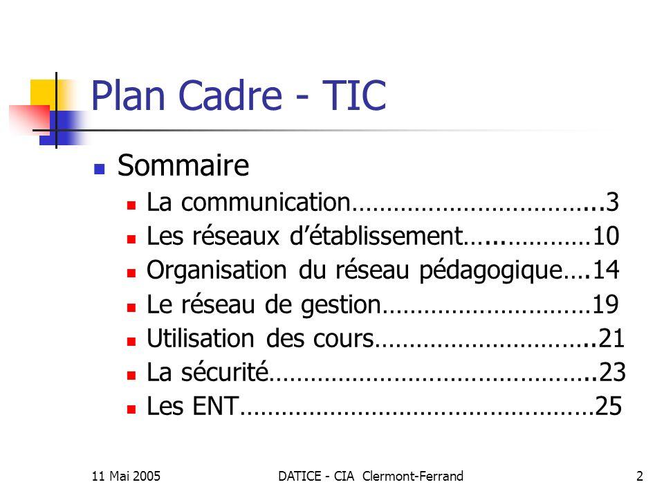 11 Mai 2005DATICE - CIA Clermont-Ferrand3 Plan Cadre – TIC La communication Tous les établissements sont passés du Réseau Académique : au Réseau Régional pour les lycées Au Réseau Agriates pour les collèges