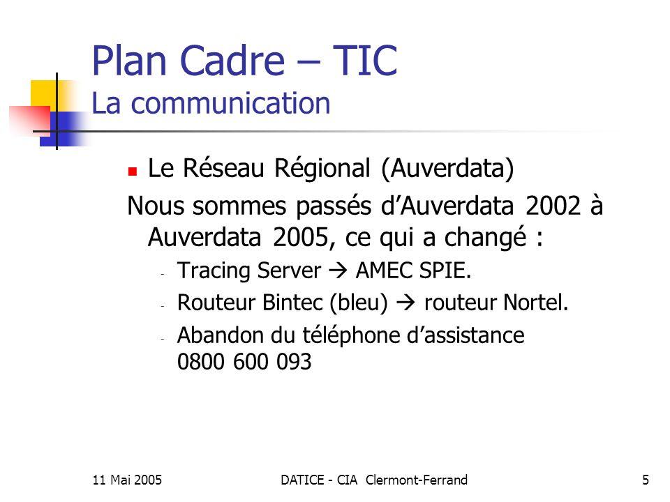 11 Mai 2005DATICE - CIA Clermont-Ferrand5 Plan Cadre – TIC La communication Le Réseau Régional (Auverdata) Nous sommes passés dAuverdata 2002 à Auverdata 2005, ce qui a changé : - Tracing Server AMEC SPIE.