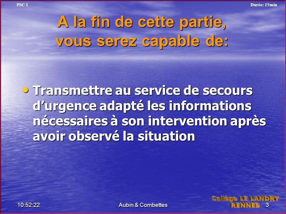 A la fin de cette partie, vous serez capable de: Transmettre au service de secours durgence adapté les informations nécessaires à son intervention apr