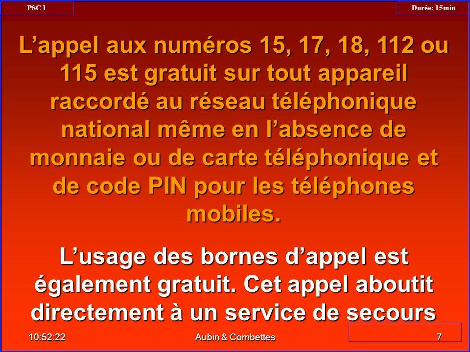 Lappel aux numéros 15, 17, 18, 112 ou 115 est gratuit sur tout appareil raccordé au réseau téléphonique national même en labsence de monnaie ou de car