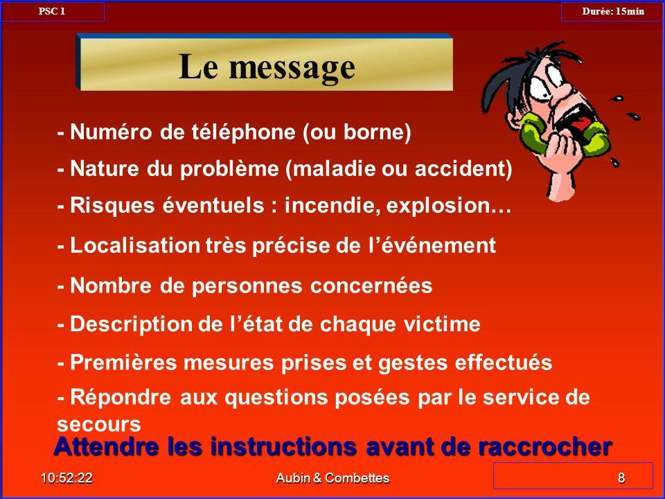 - Nature du problème (maladie ou accident) - Numéro de téléphone (ou borne) - Localisation très précise de lévénement - Risques éventuels : incendie,