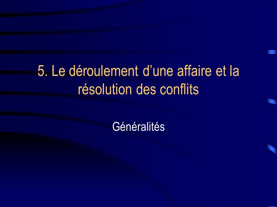 5. Le déroulement dune affaire et la résolution des conflits Généralités