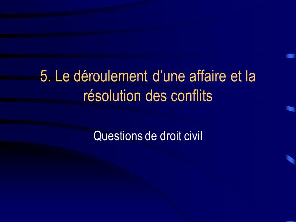 5. Le déroulement dune affaire et la résolution des conflits Questions de droit civil