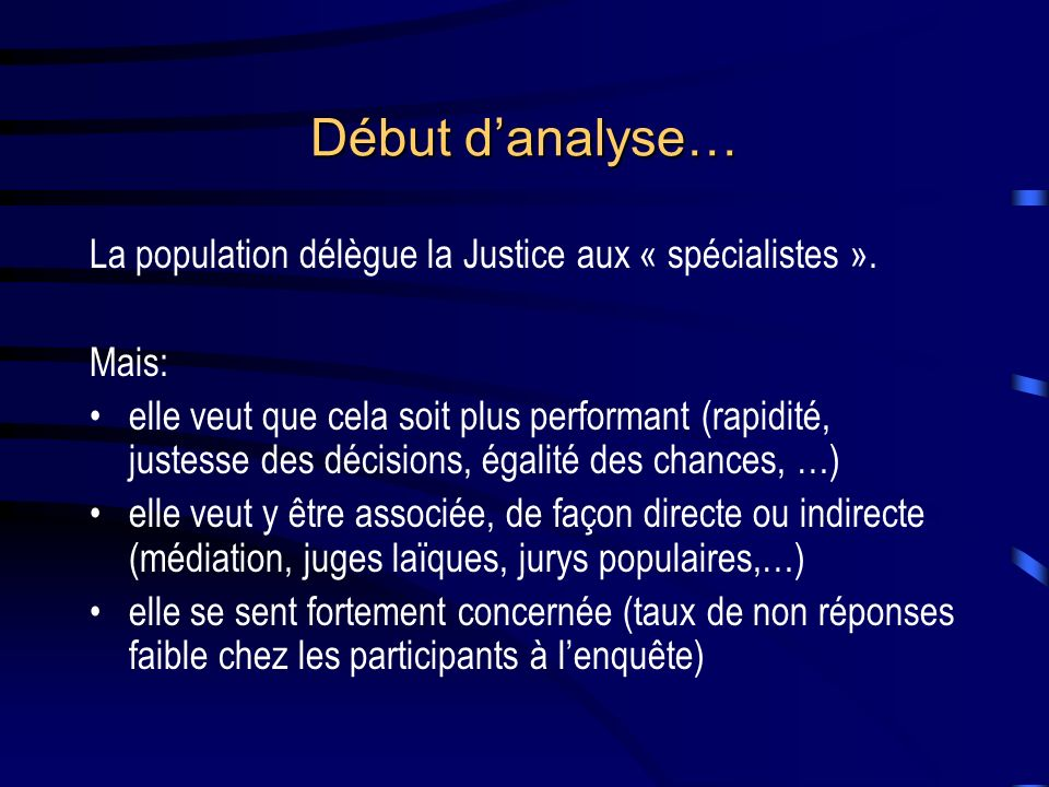 Début danalyse… La population délègue la Justice aux « spécialistes ».