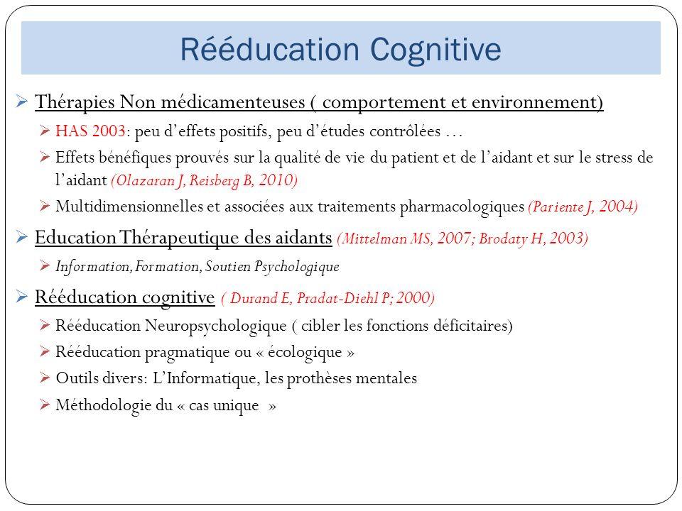 Rééducation Cognitive Thérapies Non médicamenteuses ( comportement et environnement) HAS 2003: peu deffets positifs, peu détudes contrôlées … Effets b