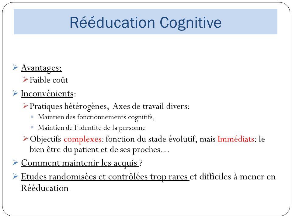 Rééducation Cognitive Avantages: Faible coût Inconvénients: Pratiques hétérogènes, Axes de travail divers: Maintien des fonctionnements cognitifs, Mai