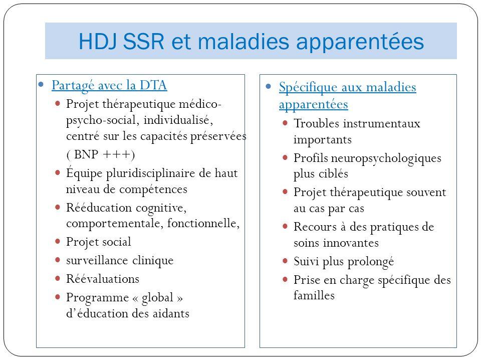 HDJ SSR et maladies apparentées Partagé avec la DTA Projet thérapeutique médico- psycho-social, individualisé, centré sur les capacités préservées ( B