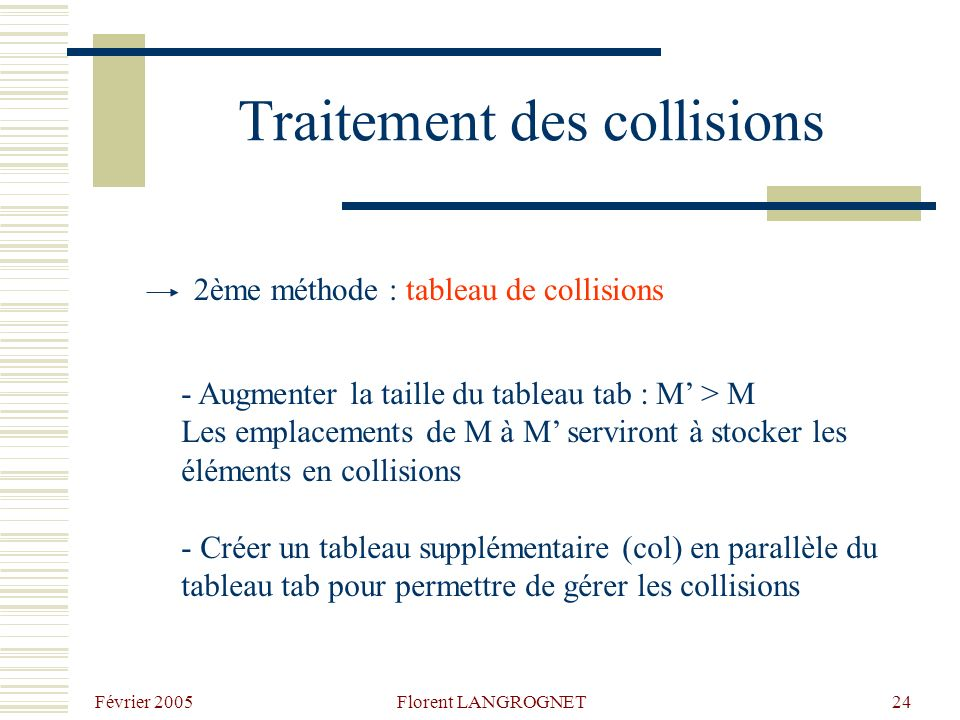 Février 2005 Florent LANGROGNET24 Traitement des collisions 2ème méthode : tableau de collisions - Augmenter la taille du tableau tab : M > M Les emplacements de M à M serviront à stocker les éléments en collisions - Créer un tableau supplémentaire (col) en parallèle du tableau tab pour permettre de gérer les collisions