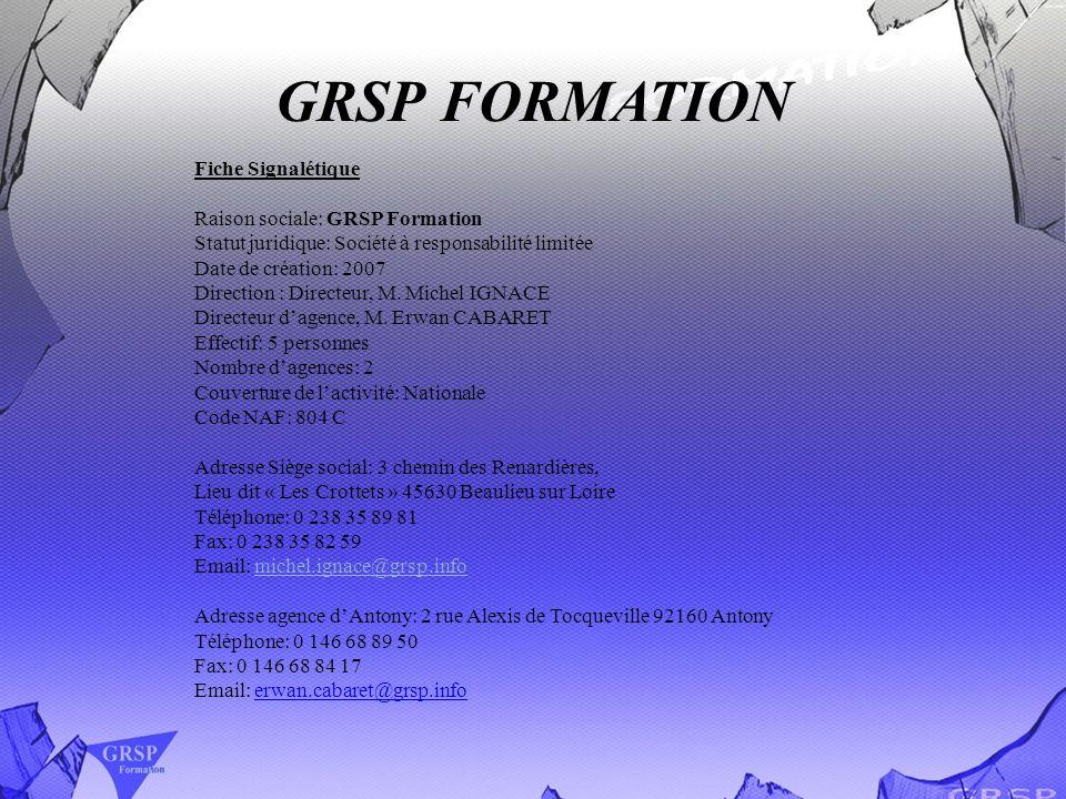 GRSP FORMATION Fiche Signalétique Raison sociale: GRSP Formation Statut juridique: Société à responsabilité limitée Date de création: 2007 Direction :