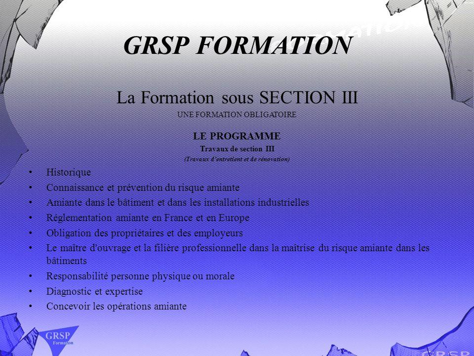 GRSP FORMATION La Formation sous SECTION III UNE FORMATION OBLIGATOIRE LE PROGRAMME Travaux de section III (Travaux dentretient et de rénovation) Hist